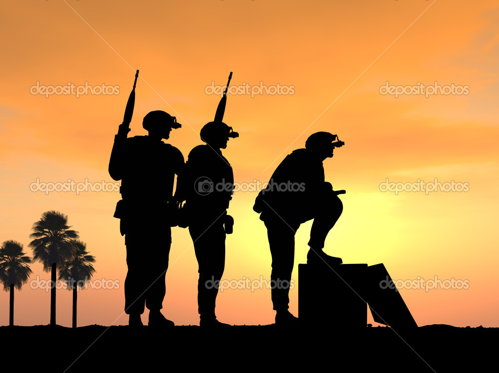 Three Soldiers Ready and Alert for Battle  Stock Photo #11354197