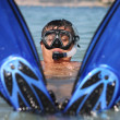 Stock Photo: Funny snorkel man