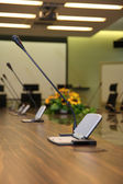 Microphone in the meeting room — Stock Photo