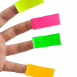 Sticky notes and fingers — Stock Photo