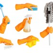 Hand in glove, tool set — Stock Photo