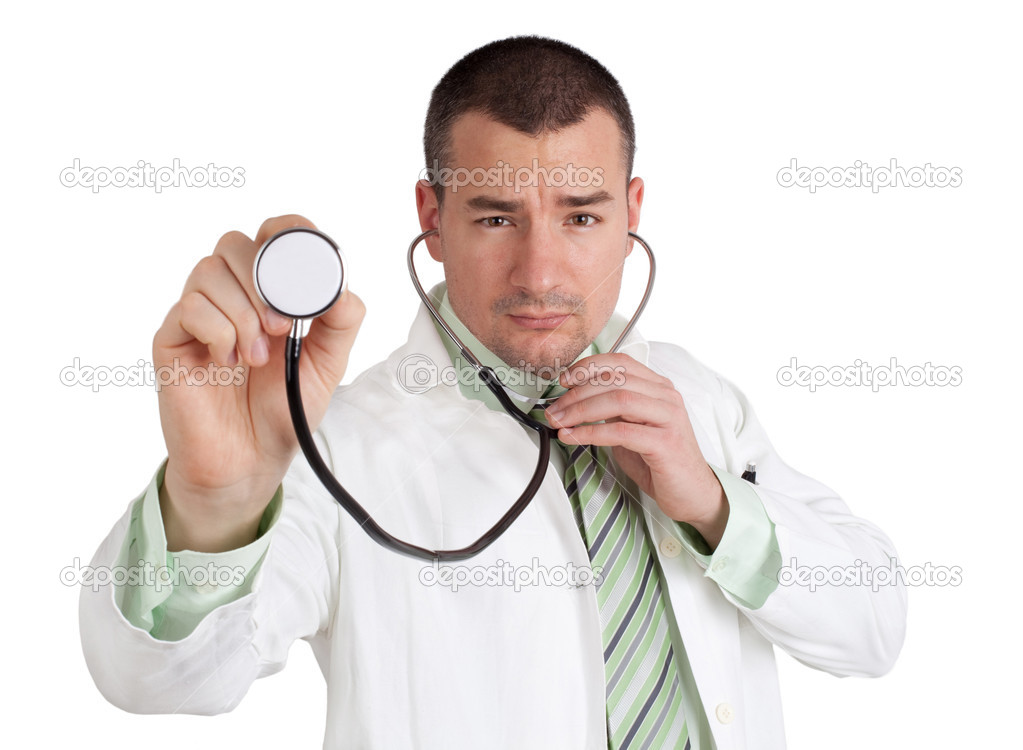 Young doctor holding a stethoscope. Isolated on white background. — Stock Photo #11398952