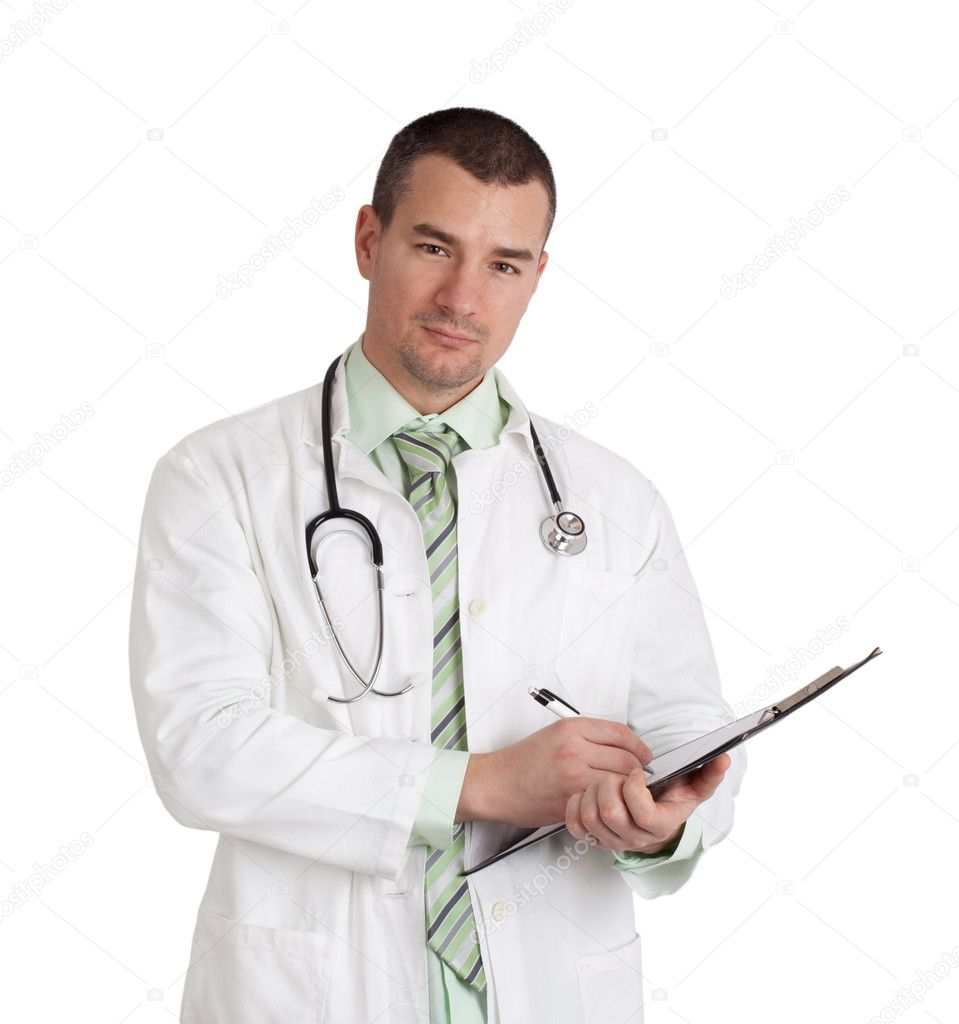Young doctor writing on a clipboard. Isolated on white background. — Stock Photo #11398957