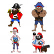 Stock Vector: Four pirates