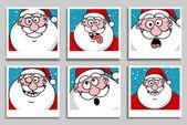 Funny Santa Claus heads — Stock Vector