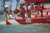 LISBON, PORTUGAL - JUNE 9: Camper Team in Volvo Ocean Race - Lisbon StopOver - Harbour Race June 9, 2012 in Lisbon, Portugal — 图库照片