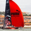 LISBON, PORTUGAL - JUNE 9: Puma Ocean Racing Powered by Berg Propulsion in Volvo Ocean Race - Lisbon StopOver  - Harbour Race June 9, 2012 in Lisbon, Portugal — Stock fotografie