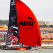 LISBON, PORTUGAL - JUNE 9: Puma Ocean Racing Powered by Berg Propulsion in Volvo Ocean Race - Lisbon StopOver  - Harbour Race June 9, 2012 in Lisbon, Portugal — Stock Photo