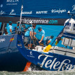 LISBON, PORTUGAL - JUNE 9: Team Telefonica in Volvo Ocean Race - Lisbon StopOver  - Harbour Race June 9, 2012 in Lisbon, Portugal — Stock Photo
