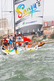 LISBON, PORTUGAL - JUNE 9: Team Sanya in Volvo Ocean Race - Lisbon StopOver - Harbour Race June 9, 2012 in Lisbon, Portugal — Stock Photo