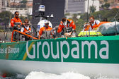 LISBON, PORTUGAL - JUNE 9: Groupama Sailing Team Volvo Ocean Race - Lisbon StopOver - Harbour Race June 9, 2012 in Lisbon, Portugal — ストック写真