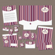 Stock Vector: Pink stripes stationery set