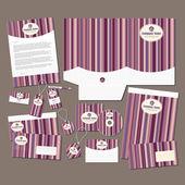 Pink stripes stationery set — Stock Vector