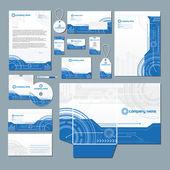 Sistema de papelería de la tecnología moderna — Vector de stock