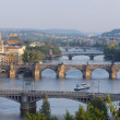 Sunrise over Prague. Panorama of five bridges. — Stock Photo