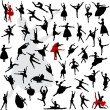 50 Silhouettes of ballerinas — Stock Vector #11342325