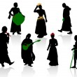 Silhouettes of medieval — Stock Vector #11356293