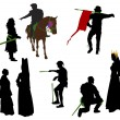 Silhouettes of medieval — Stock Vector #11356300