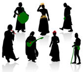 Silhouettes of medieval — Stock Vector