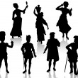 Stock Vector: Silhouettes of actors in theatrical costumes.