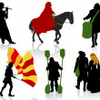 Silhouettes of in medieval costumes — Stock Vector #11363385