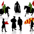 Silhouettes of in medieval costumes - Stock Vector