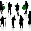 Silhouettes of in medieval costumes — стоковый вектор #11363495