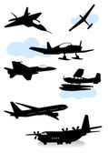 Collection of silhouettes of various planes — Stock Vector