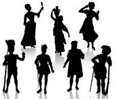 Silhouettes of the actors in theatrical costumes. — Stock Vector