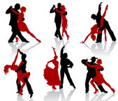 Silhouettes of the pairs dancing ballroom dances. Tango. — Stock Vector