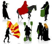 Silhouettes of in medieval costumes — Stock Vector