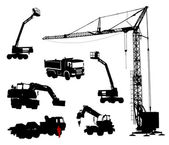Detailed silhouettes of construction machinery. — Stock Vector