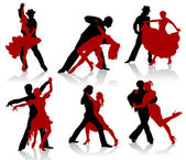 Silhouettes of the pairs dancing ballroom dances — Stock Vector