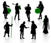 Silhouettes d'en costumes médiévaux — Vecteur