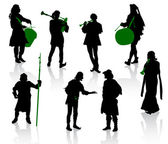 Silhouettes of in medieval costumes — Vector de stock
