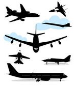 Collection of silhouettes of various planes — Wektor stockowy
