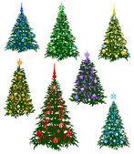 Seven christmas fur-tree — Stock Vector