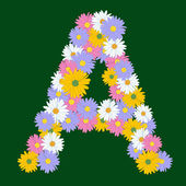 Letter A, collected from the flowers of asters — Stock Vector