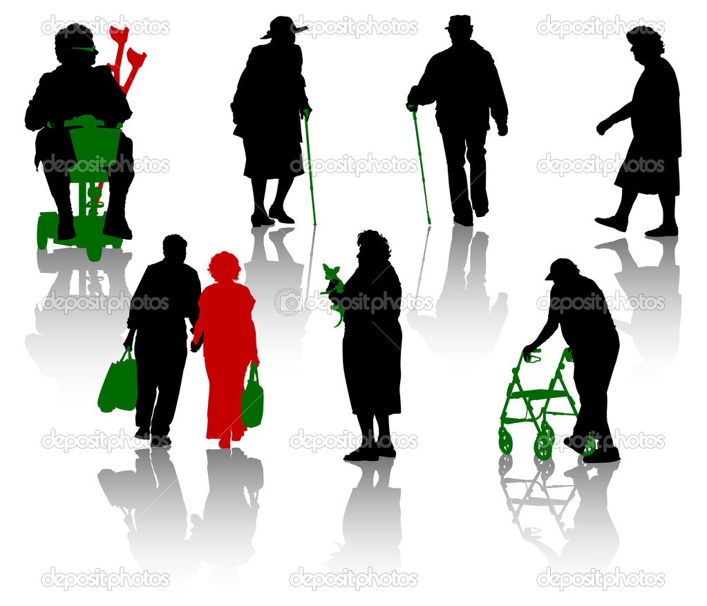 Silhouette of old and disabled  Stock Vector #11427806