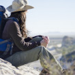 Young beautiful woman on a hiking trip — Stock Photo