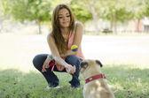 Linda garota jogando bola com seu cão no parque — Fotografia Stock