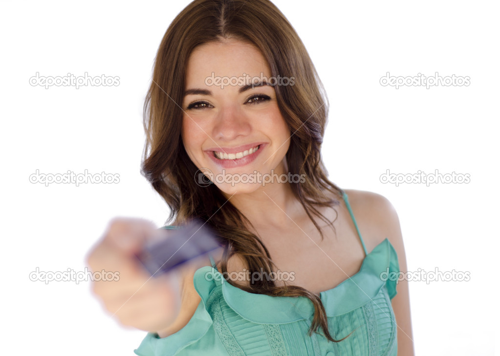 Young beautiful woman paying with credit card on a white background — Stock Photo #11446758