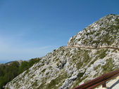 Croatia, biokovo, landscape, mountain, dalmatia, europe, sea, tourism, adriatic, tourist, blue, coast, mediterranean, water, nature, coastline, horizon, beach, destination, waves, shore, scenery, sun, — Stock Photo