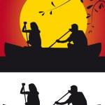 Silhouette canoeists — Stock Photo