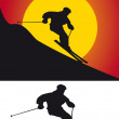 The silhouette of skiers — Stock Photo
