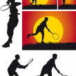 Tennis player silhouette — Stock Photo