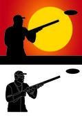 Pigeon shooter with a shotgun — Fotografia Stock
