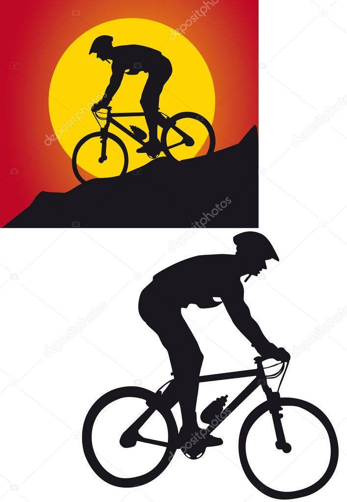 在白色背景上骑自行车的人剪影– 图库图片