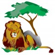 Stock Photo: King lion lying under tree in grass
