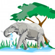 Elephant drinking and bathing water — Stock Photo